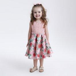 Imagem - Vestido Infantil Cattai Floral e Peito de Renda