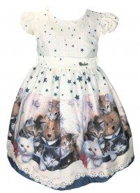 Imagem - Vestido Infantil Cattai Gatos e Estrelas