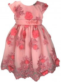 Imagem - Vestido Infantil Cattai Renda 3D de Flores