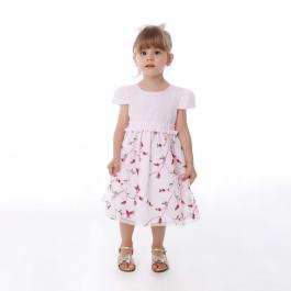 Imagem - Vestido Infantil Cattai Rosa e Pregas na Cintura