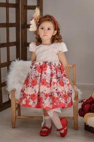 Imagem - Vestido Infantil Cattai Ursos e Flores Vermelhas