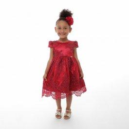 Imagem - Vestido Infantil Plinc Ploc de Renda com Colar de Pérolas