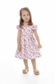 Imagem - Vestido Infantil Plinc Ploc Floral com Cinto de Pérolas