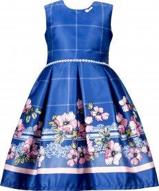 Imagem - Vestido Juvenil Cattai Azul com Barrado de Flores