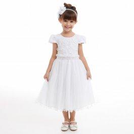 Imagem - Vestido Juvenil Cattai Branco com Tule de Brilho