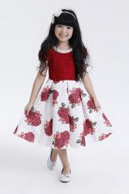 Imagem - Vestido Juvenil Cattai com Renda e Saia Floral Vermelha
