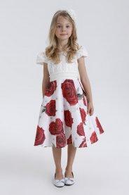 Imagem - Vestido Juvenil Cattai com Saia Floral e Cinto Bordado