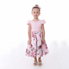 Imagem - Vestido Juvenil Cattai Rosa com Saia Floral