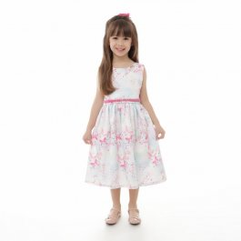 Imagem - Vestido Juvenil Plinc Ploc Floral e Cinto de Pérolas