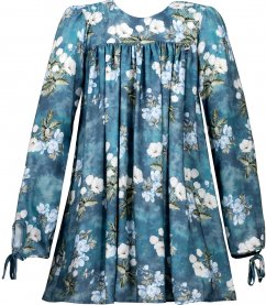 Imagem - Vestido Teen Cattai Floral Azul Manga Longa
