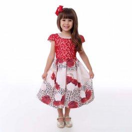 Imagem - Vestido Teen Cattai Floral Vermelho com Onça