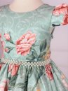 Vestido Juvenil Cattai Floral Verde e Salmão 3