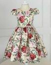 Vestido Juvenil Cattai Floral Verde e Salmão 2