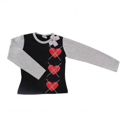 Blusa Infantil Menina Corações com Laço
