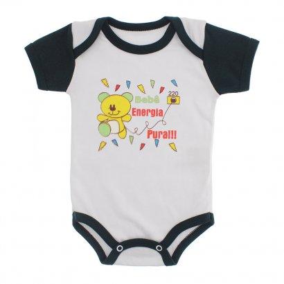 Body Bebê Manga Curta Frases Divertidas