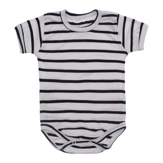 Body Bebê Manga Curta Listrado