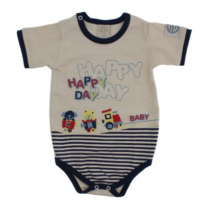 Body Manga Curta Happy Baby