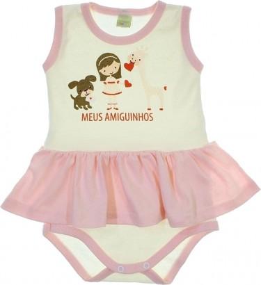 Body de Bebê Vestido Meus Amiguinhos