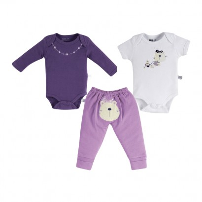 Bodys e Calça para Bebê Cat Zigmundi kit 3 peças - Cod. 7331