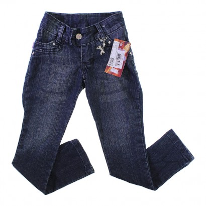 Calça Jeans Infantil Menina Com Pingente