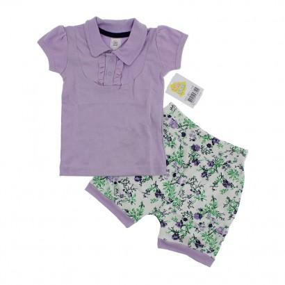 Conjunto para Bebê Blusa e Shorts Balonê Floral Din Don