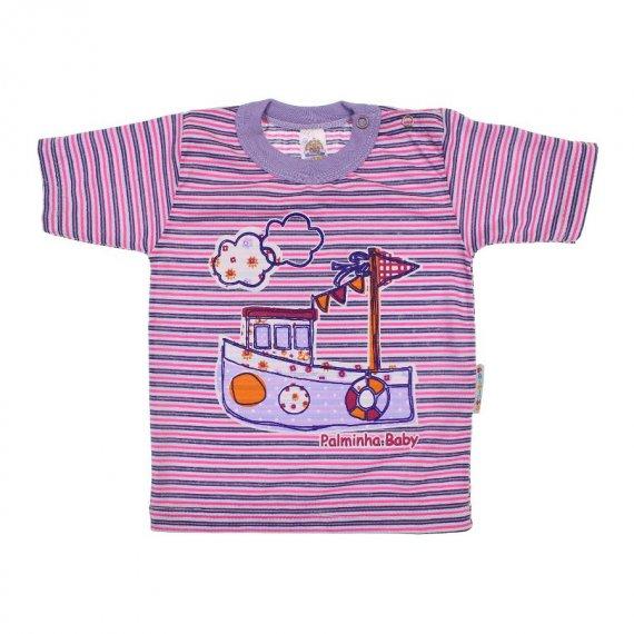 Camiseta de Bebê Menina Listrada