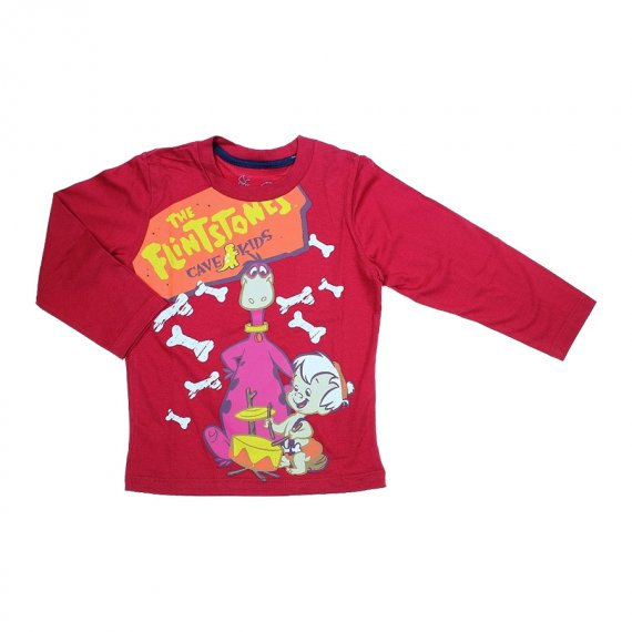 Camiseta Infantil Manga Longa Flintstones