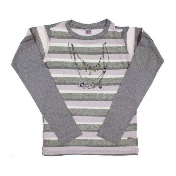 Camiseta Infantil Listrada Collar