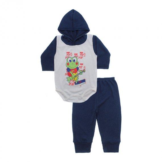 Conjunto Body com Capuz e Calça para Bebê