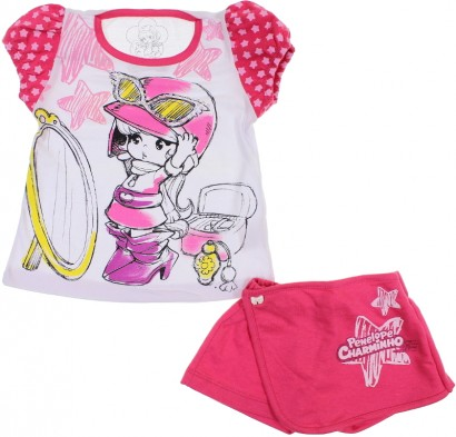 Conjunto Infantil Shorts Saia e Camiseta Penélope Charmosa
