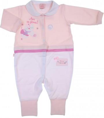 Macacão de Bebê Longo Suedine Gatinho
