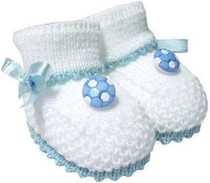 Pantufa de Bebê Botinha de Futebol Lã Branca 3312