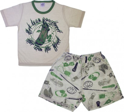 Pijama Infantil Camiseta e Shorts Game