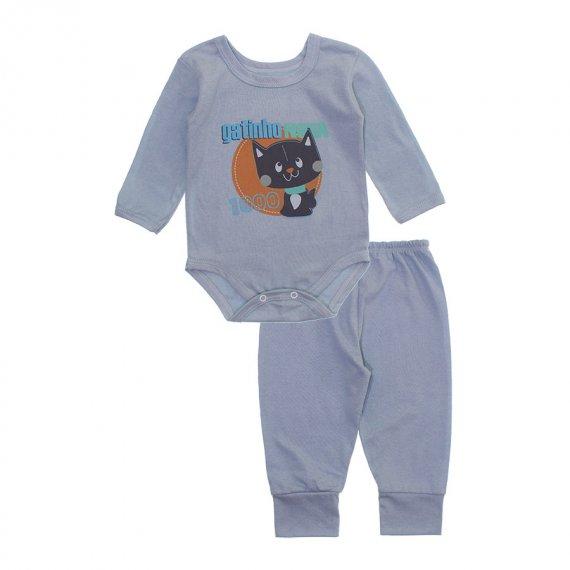 Pijama para Bebê Body e Calça em Meia Malha Lapuko