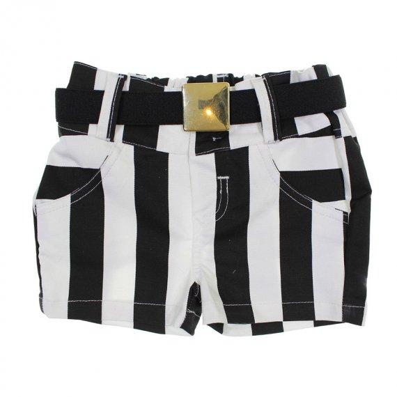 Shorts Infantil de Menina com Cinto Listrado - 6348