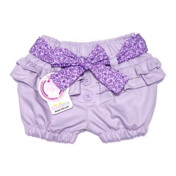 Shorts de Sarja com Cinto Floral