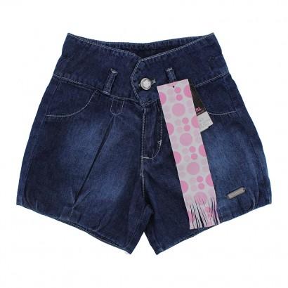 Shorts Jeans Infantil Balonê com Pregas