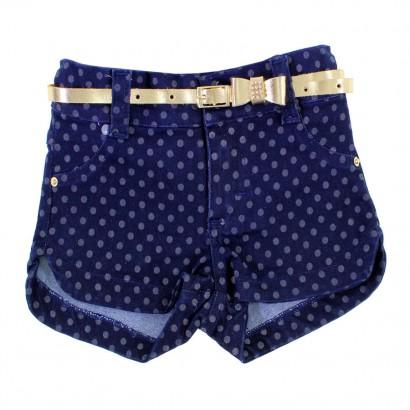 Shorts Jeans Poá com Cinto