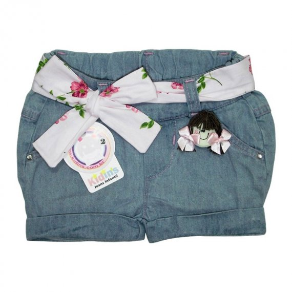 Shorts Jeans Claro Menina Laço Rosa