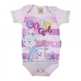 Imagem - Body Bebê Manga Curta Menina Cats - 5069 - Branco