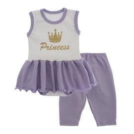 Imagem - Body Bebê com Saia e Calça Capri Lapuko - 10078-body-saia-legging-branco-lila