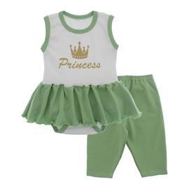 Imagem - Body Bebê com Saia e Calça Capri Lapuko - 10078-body-saia-legging-branco-verd