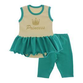Imagem - Body Bebê com Saia e Calça Capri Lapuko - 10078-body-saia-legging-creme-jade