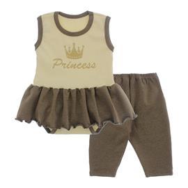 Imagem - Body Bebê com Saia e Calça Capri Lapuko - 10078-body-saia-legging-creme-marro