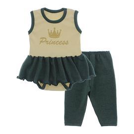 Imagem - Body Bebê com Saia e Calça Capri Lapuko - 10078-body-saia-legging-creme-verde