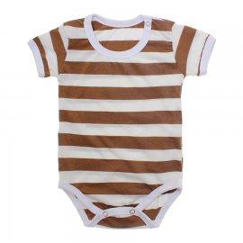 Imagem - Body Bebê em Malha Lapuko - 10184-body-mc-list-creme-marrom