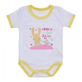 Imagem - Body Bebê Malha Canelada Estampado - 10234-body-mc-coelho-amarelo