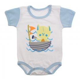 Imagem - Body Bebê Manga Curta Colorida Estampado - 9962-body-mc-barco-azul