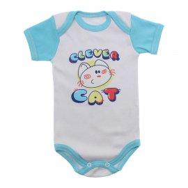 Imagem - Body Bebê Manga Curta Colorida Estampado - 9962-body-mc-clever-cat-azul