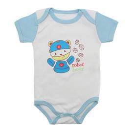 Imagem - Body Bebê Manga Curta Colorida Estampado - 9962-body-mc-robo-azul